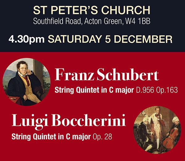 Schubert at St Peter's 4:30pm 5 December